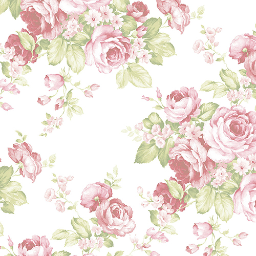 Norwall Wallcoverings Grand Floral Pink and Green Wallpaper - SAMPLE SWATCH ONLY