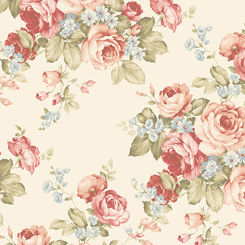 Grand Floral Cream, Pink and Blue Wallpaper