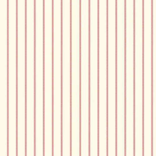 Ticking Stripe Red and Cream Wallpaper