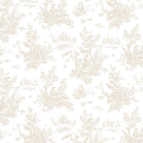 Beige Toile Wallpaper