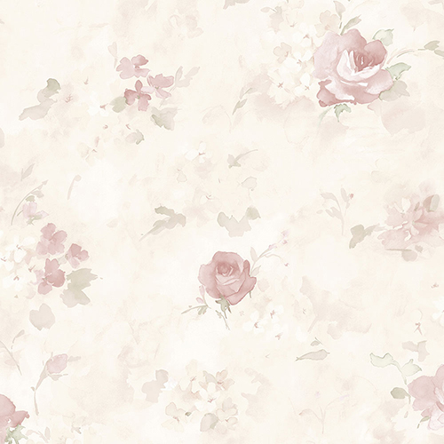 Norwall Wallcoverings Morning Dew Soft Pink, Green and Cream Floral Wallpaper