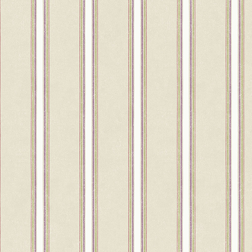 Shabby Stripe Taupe, Purple and Green Wallpaper