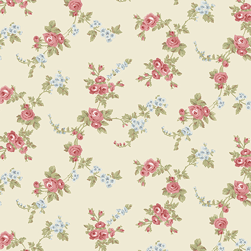 Norwall Wallcoverings Chic Rose Pink, Blue and Cream Wallpaper - SAMPLE SWATCH ONLY