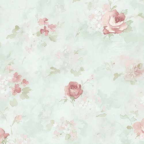 Norwall Wallcoverings Morning Dew Teal and Pink Floral Wallpaper - SAMPLE SWATCH ONLY