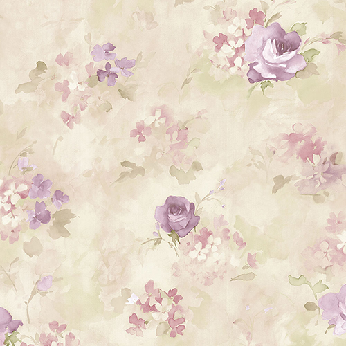 Morning Dew Purple, Cream and Pink Floral Wallpaper