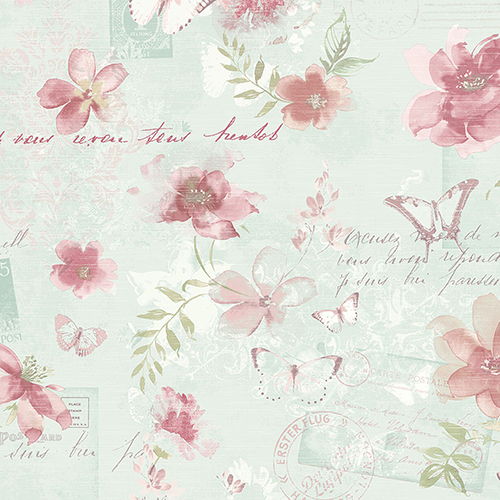 Norwall Wallcoverings Memento Teal and Pink Floral Wallpaper - SAMPLE SWATCH ONLY