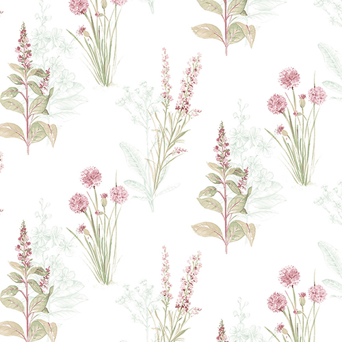 Teal and Pink Floral Wallpaper - SAMPLE SWATCH ONLY
