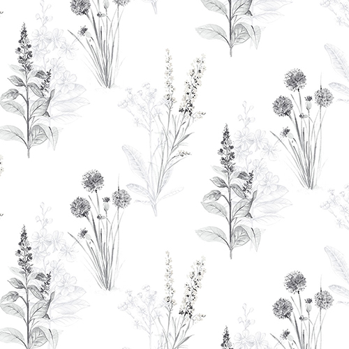 Grey And Black Floral Wallpaper