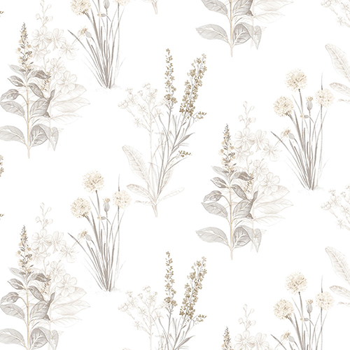 Norwall Wallcoverings Beige And Grey Floral Wallpaper
