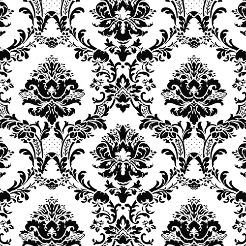Norwall Wallcoverings Doent Damask Black And White Wallpaper