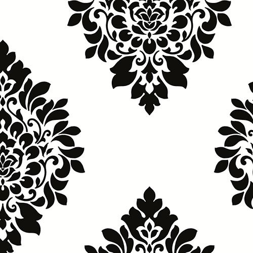 Norwall Wallcoverings Medallion Damask Black and White Wallpaper - SAMPLE SWATCH ONLY