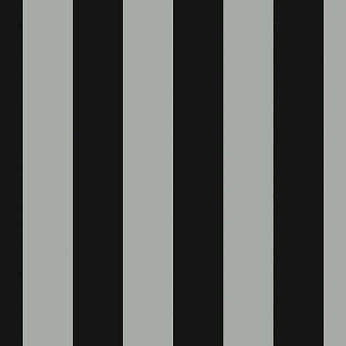 Tent Stripe Metallic Silver and Black Wallpaper