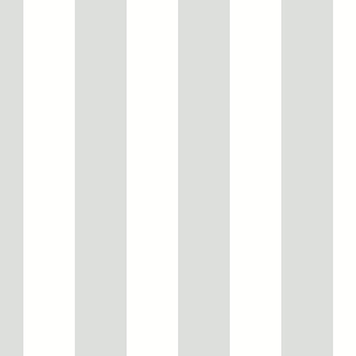 Tent Stripe Metallic Silver and White Wallpaper - SAMPLE SWATCH ONLY