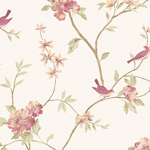 Norwall Wallcoverings Floral Bird Sidewall Raspberry and Cream Wallpaper