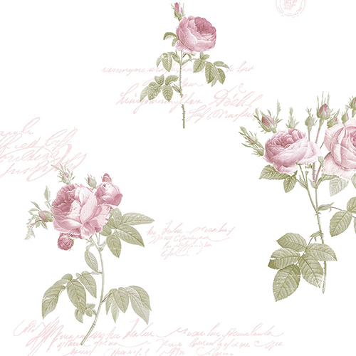 Norwall Wallcoverings Script Rose Pink and Green Wallpaper - SAMPLE SWATCH ONLY