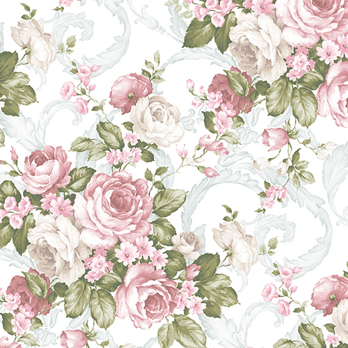 Norwall Wallcoverings Grand Fl Pink Green And Light Turquoise Wallpaper