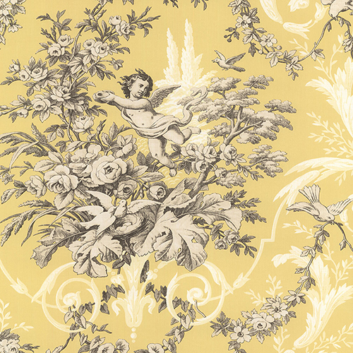Norwall Wallcoverings Fabric Toile Yellow and Cream Wallpaper - SAMPLE SWATCH ONLY