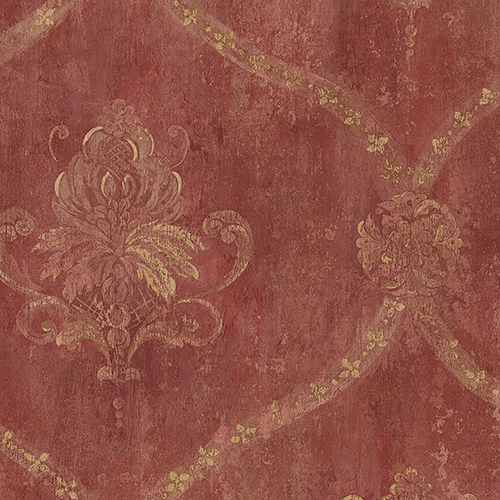 Regal Damask Red and Ochre Wallpaper