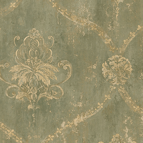 Regal Damask Green and Beige Wallpaper