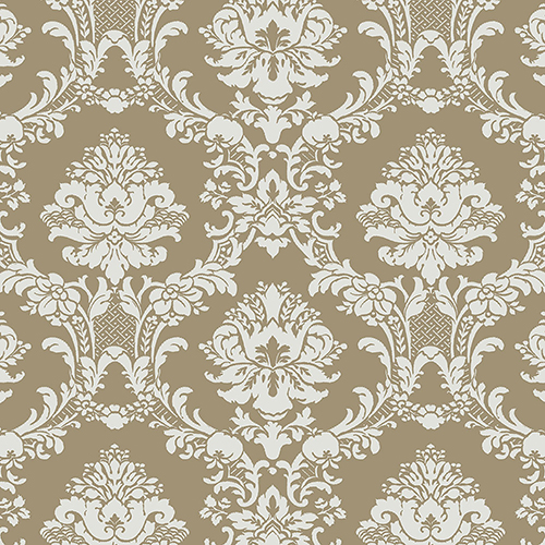 Document Damask Metallic Gold and Light Green Wallpaper