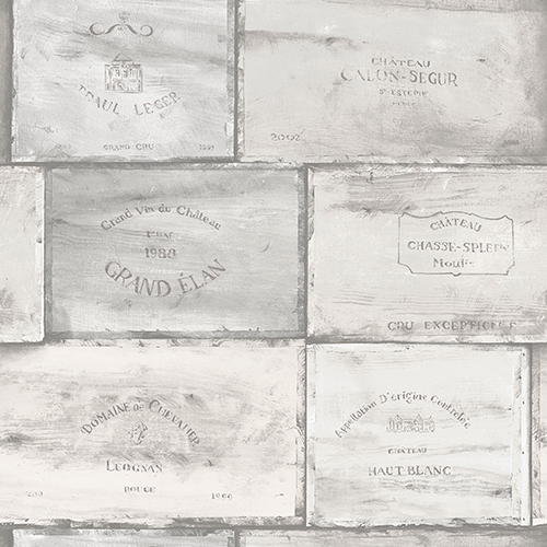 Grey and Ivory Wine Crates Wallpaper - SAMPLE SWATCH ONLY