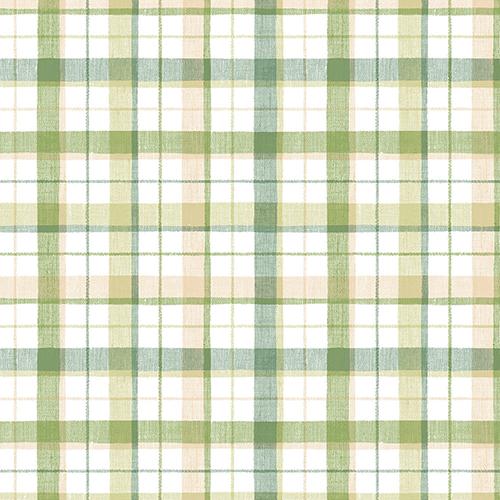 Green and Beige Linen Plaid Wallpaper