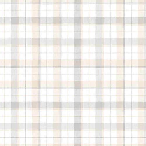 Grey and Beige Linen Plaid Wallpaper