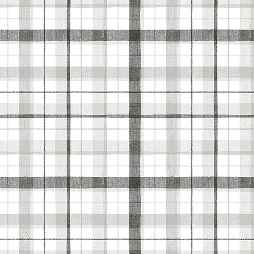 Norwall Wallcoverings Black and Grey Linen Plaid Wallpaper - SAMPLE SWATCH ONLY
