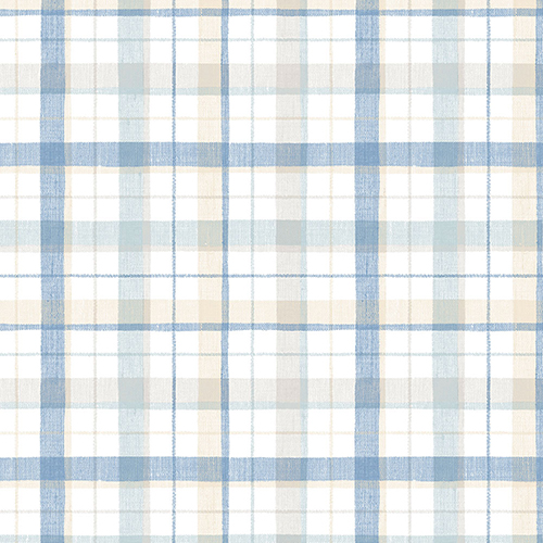 Blue and Beige Linen Plaid Wallpaper
