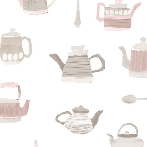 Tea Pots Pink and Grey Wallpaper - SAMPLE SWATCH ONLY
