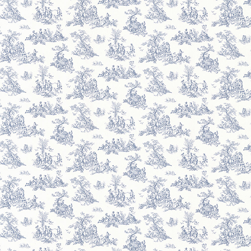 Norwall Wallcoverings Small Toile Blue Wallpaper - SAMPLE SWATCH ONLY
