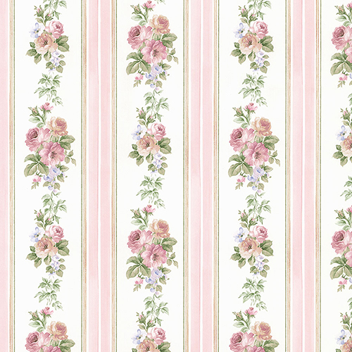 Small Rose Stripe Pink and Blue Wallpaper