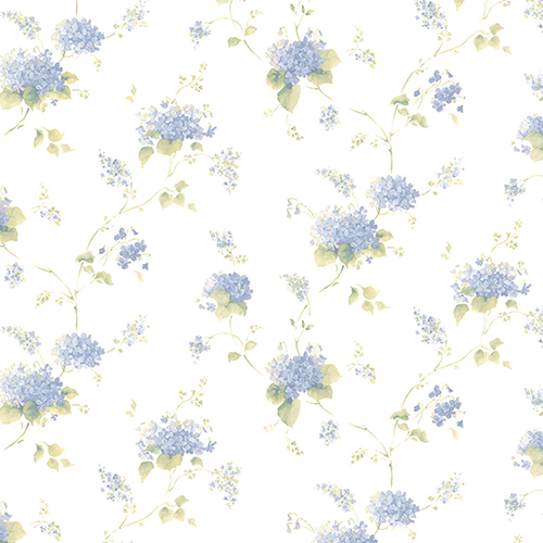 Norwall Wallcoverings Hortensia Trail Navy and Green Wallpaper