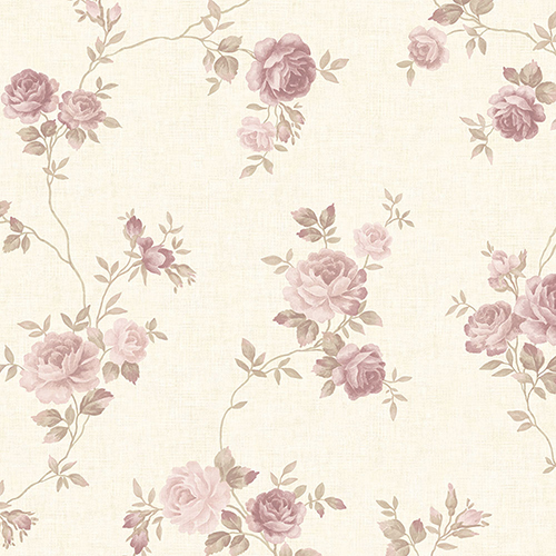Rose Trail Pink, Beige and Cream Wallpaper - SAMPLE SWATCH ONLY