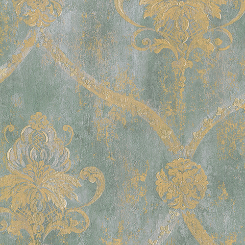 Norwall Wallcoverings Regal Damask Metallic Gold and Aqua Blue Wallpaper