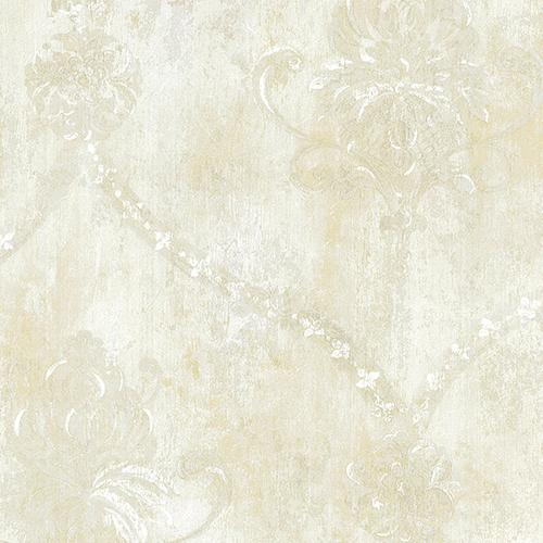 Regal Damask Pearl and Beige Wallpaper