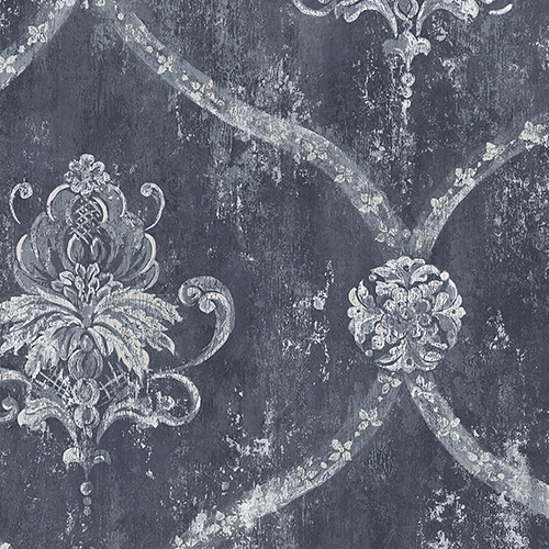 Regal Damask Blue and Metallic Silver Wallpaper - SAMPLE SWATCH ONLY
