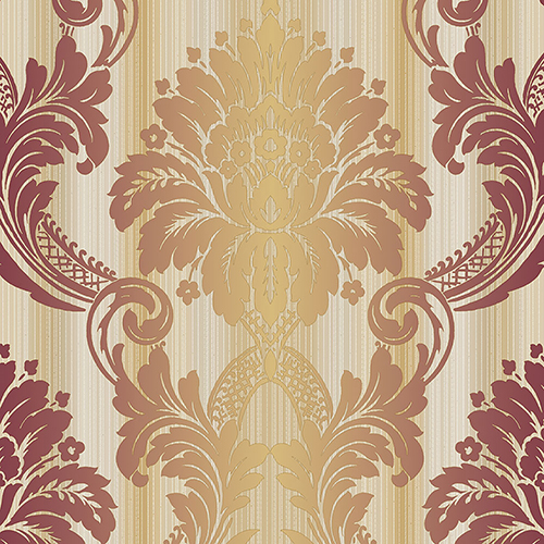 Norwall Wallcoverings String Damask Red, Orange and Metallic Gold Wallpaper - SAMPLE SWATCH ONLY