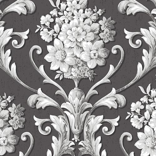 Floral Damask Black and Metallic Silver Wallpaper
