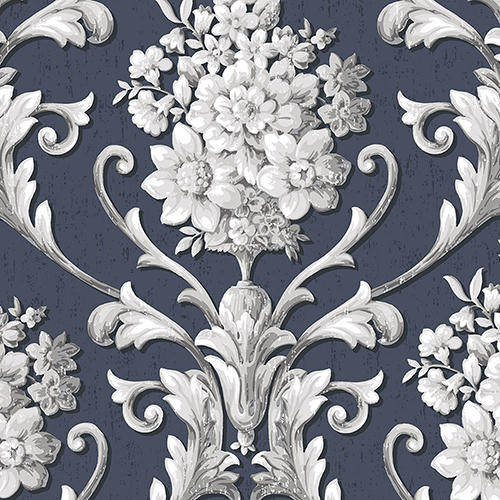 Norwall Wallcoverings Floral Damask Navy and Metallic Silver Wallpaper - SAMPLE SWATCH ONLY