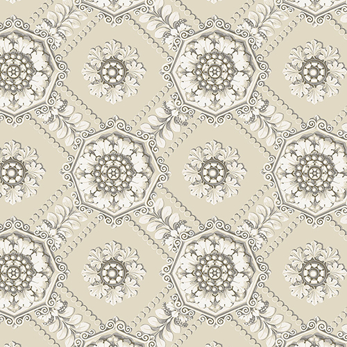 Medallion Cream, Beige and Metallic Silver Wallpaper