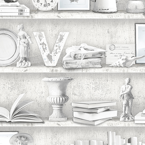 Grey and Blue Curio Cabinet Wallpaper