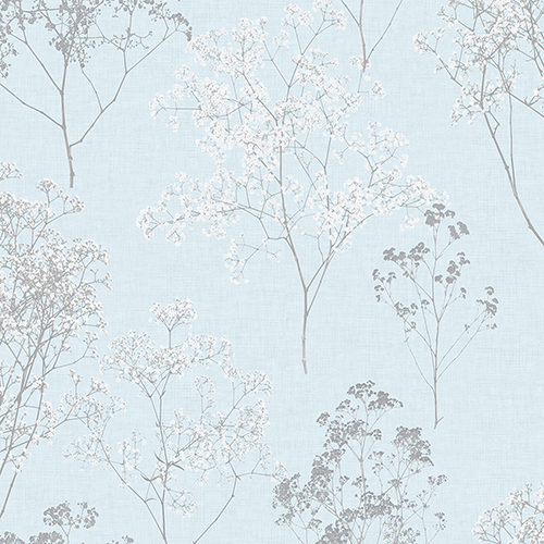 Queen Anne Lace Blue and Grey Wallpaper