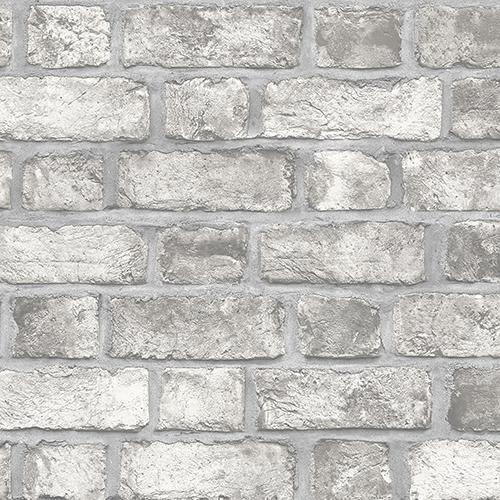 Farmhouse Brick Grey Wallpaper