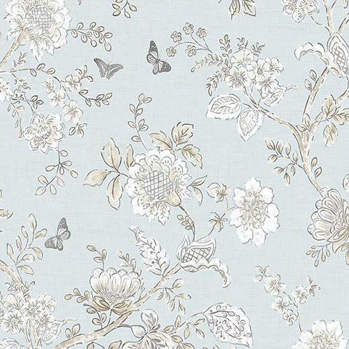 Butterfly Toile Light Blue Wallpaper - SAMPLE SWATCH ONLY