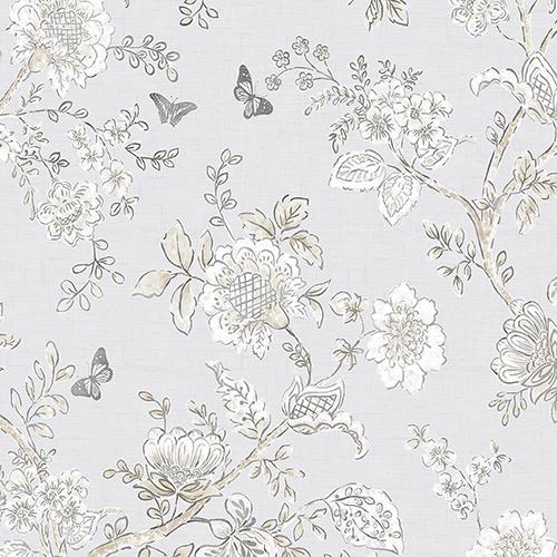 Butterfly Toile Grey Wallpaper