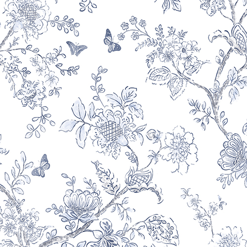 Butterfly Toile Navy Blue Wallpaper
