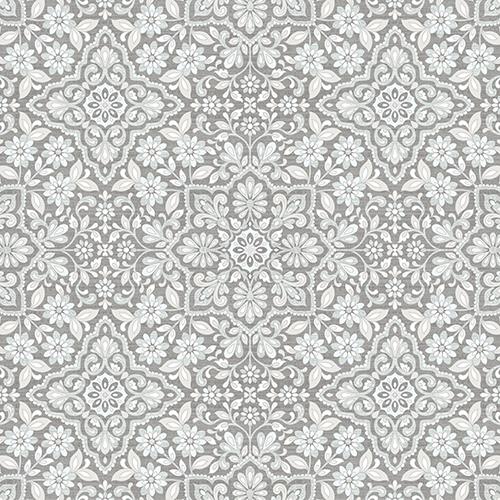 Light Grey and Blue Floral Tile Wallpaper