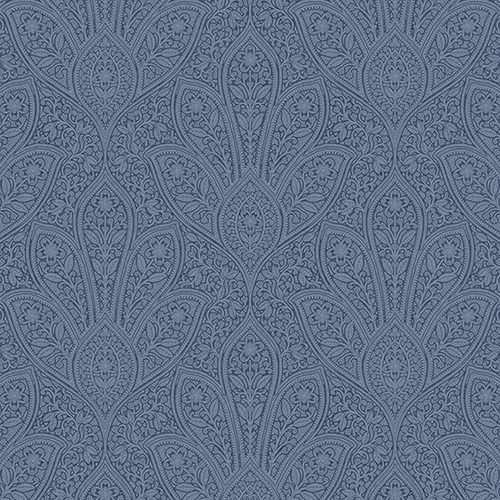 Distressed Paisley Navy Blue Wallpaper