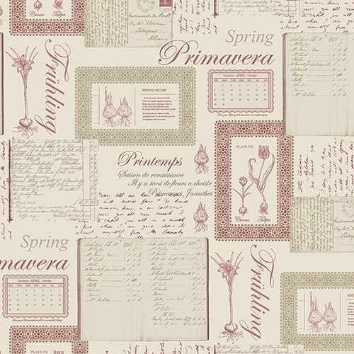 Norwall Wallcoverings Printemps Script Beige and Pink Wallpaper - SAMPLE SWATCH ONLY